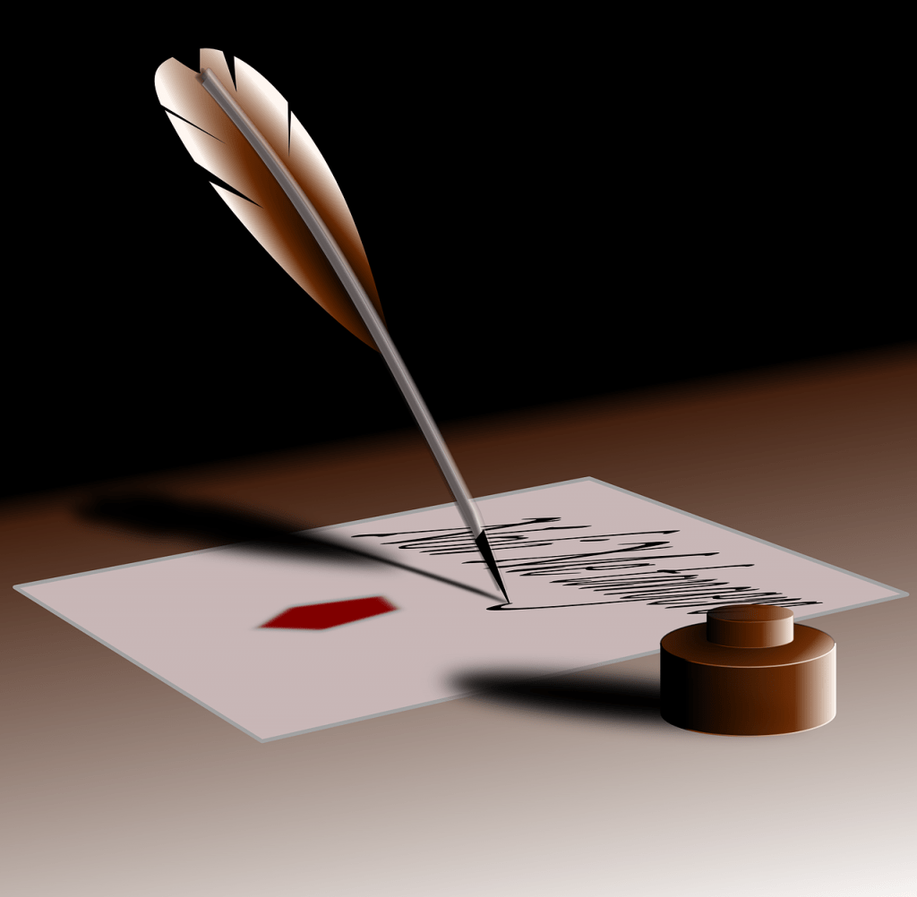 quill, pen, write